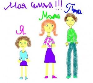 Моя семья детский рисунок